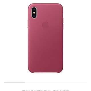 iPhone X leather case  - Fushsia Pink color
