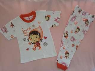 Baju Tidur / Piyama Anak Cute Red 3-4 Thn.