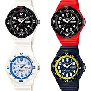 深水埗門市全新有保養正貨 橡膠錶帶 行針面 100m 防水 日期 星期 Casio MRW-200HC-2B,4B,7B,7B2