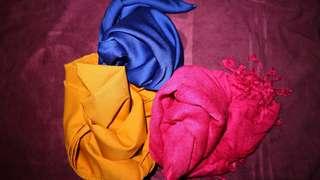 3 Hijab pasmina (Kuning Kunyit,Biru electric & Shocking Pink)