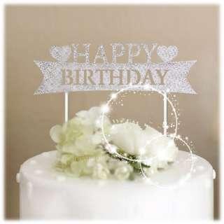 Birthday Glitter Cake Topper