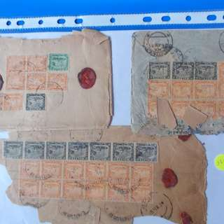 MALAYA 1937 - Lot of 3 - REGISTERED COVRS TO INDIA with Many Stamps  - ad35