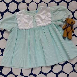 Mint green pleated dress