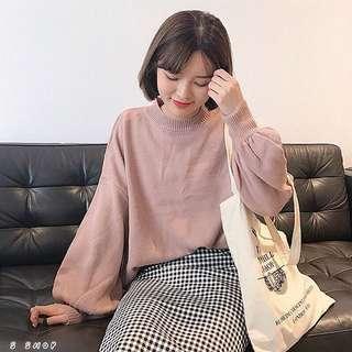🔹 甜美純色燈籠袖針織毛衣
