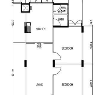 HDB 3-room flat for rent