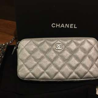 Authentic Chanel New wallet on chain in silver caviar
