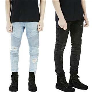 Men's ripped biker jeans