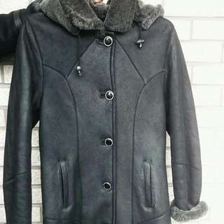 Genuine Sheepskin Winter Coat Size S  Approximately Knee Length!