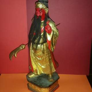Vintage Wood Carving Figurine with Gold Grazed God of War ( Guan Tee )