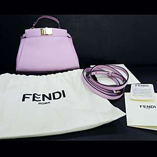 💯% Authentic Fendi micro peekaboo tote bag with long strap