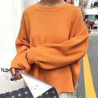 橘色🍊 寬鬆 毛衣