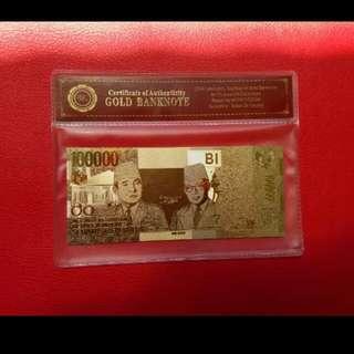 Uang souvenir gold foil / goldfoil banknote 100.000 rupiah soekarno hatta