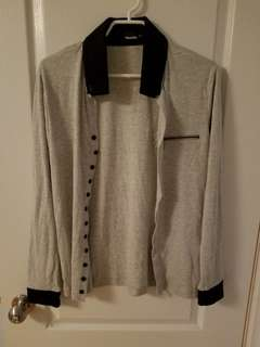 The Lees Button Up Cardigan Grey (M)