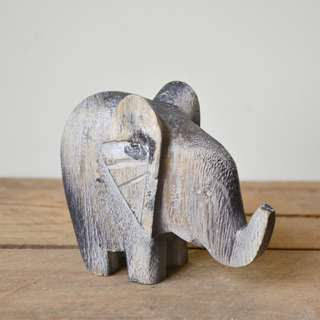 Small Hand Carved Chunky Style Wooden Decorative Elephant