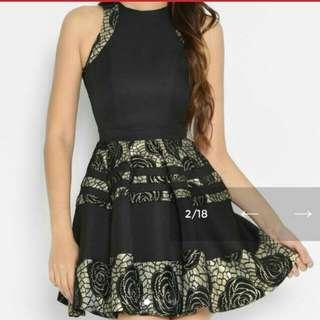 BNWT Lara j black and gold dress