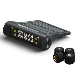 Solar Tpms Tire Pressure Monitoring System Lcd Car Wireless W 4 External Sensor
