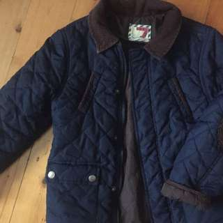 COTTON ON - Navy Padded Jacket with Brown corduroy trim Size 7 EXCELLENT COND