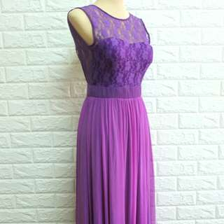 Violet lace backless long gown