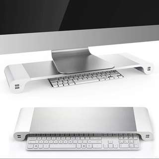 Aluminum Alloy Monitor Stand Space Bar Non-slip Computer Laptop Monitor Dock Stand Riser with 4 USB Ports for iMac MacBook