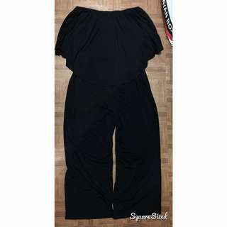 Plus Size 2X Black Off shoulders Jumpsuit