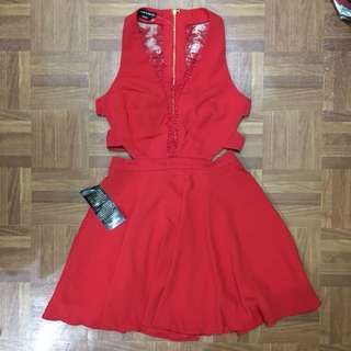 LARGE Bebe Sexy Red Party Dress