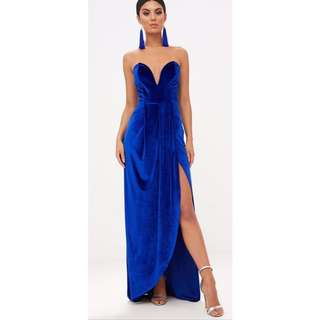 Blue velvet strapless formal gown dress