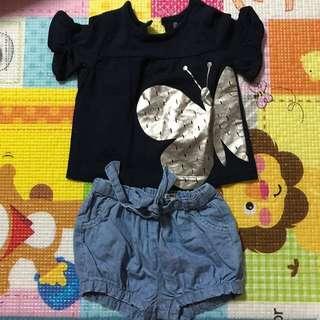 Cotton On Kids Terno - Butterfly Blouse + Denim Shorts