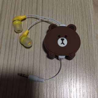 Line friends brown 熊大 布朗熊 耳機 earphone