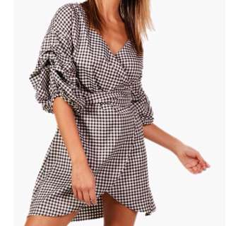 Gingham Wrap Dress