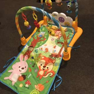 Baby play gym with mat and music