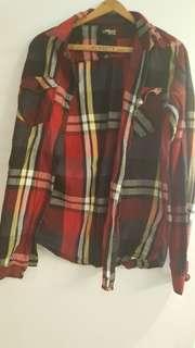 Plaid long sleeve shirt red