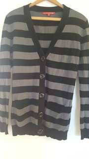 Stripe long sleeve sweater cardigan