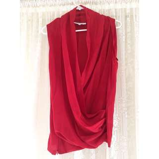 Maurie & Eve - Red Silk Plunge Top