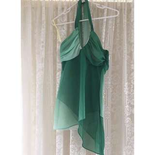 Bardot Green Halter Neck Top