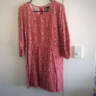 Dotti Red 3/4 Sleeve Dress - Size 10