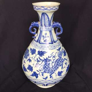 Antique porcelain Yuan dynastyB n W vase with auspicious animals symbolising fortune n wealth 38cm high . Special offer 280000.neg. 元青花玉壶春瓶特价。麒麟㩿彩。胎釉厚嫩滑带宝光。可以商议