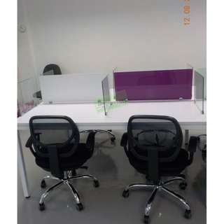 KHOMI--LINEAR WORKSTATIONS WITH GLASS DIVIDER PURPLE