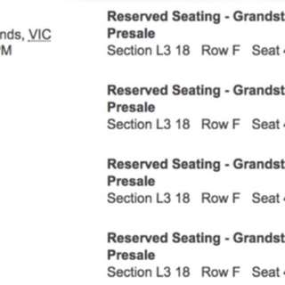 4 x Ed Sheehan Grandstand Melbourne March 9th tickets
