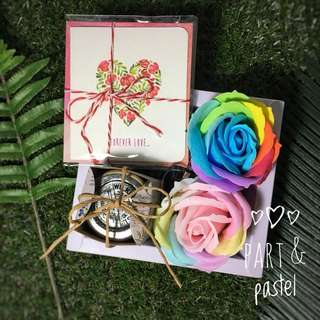 Floral Themed Gift Package with Personalised Rainbow Rose and Customised Tag