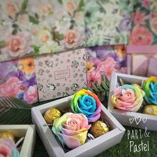 Diamond and Floral Gift Package with Rainbow Roses