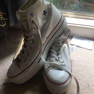 Converse white high tops, thick heeled soul
