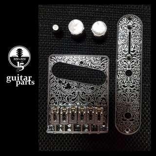 *New* Unique Engraved Telecaster Bridge + Control Plate + White Pearloid Knobs *In Stock - Last Set*
