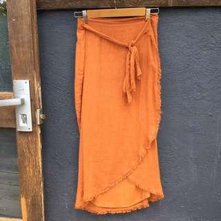 RUE STIIC terracotta linen wrap skirt
