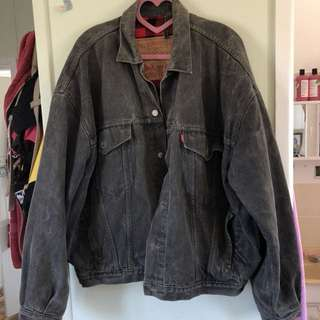 Levi's faded black grey denim jacket