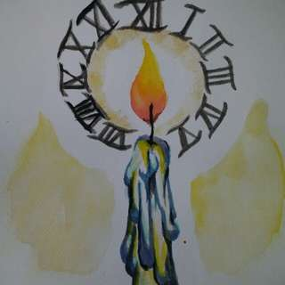 """Painting (Hour of Life) (on a watercolor paper 7""""12"""")(frame not included)"""