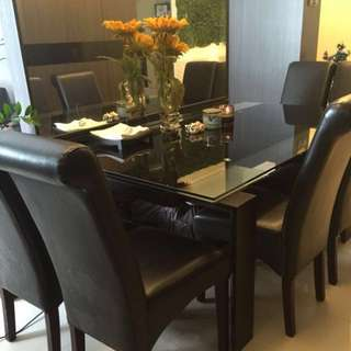Extendable dining set - glass top table with chairs