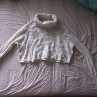 Cropped knit turtleneck jumper
