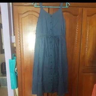 Blue denim pinafore dress