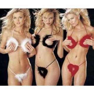 Sexy seductive open peephole feather bra and panties, black, white, magenta, free size