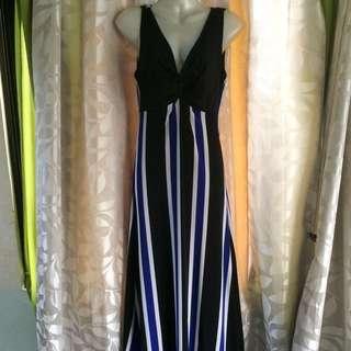 Long Black Dress W/Stripe Twist
